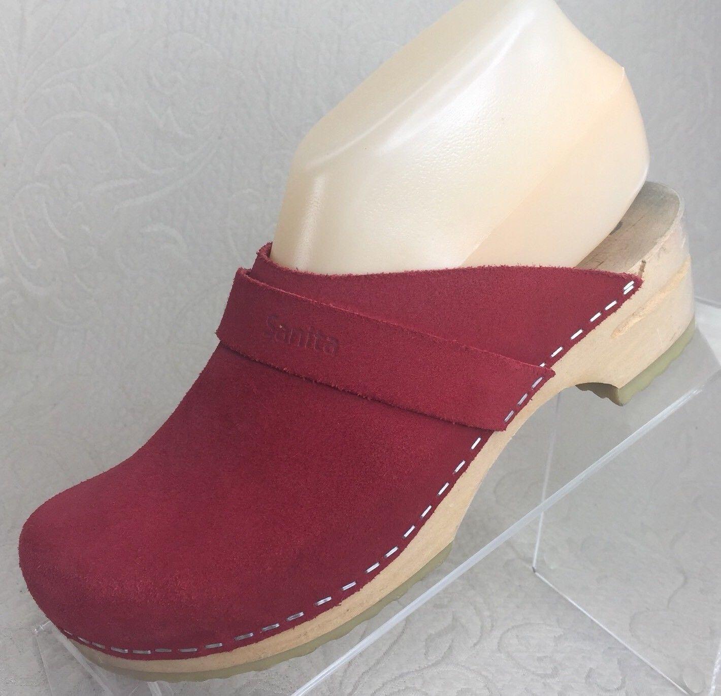 SANITA Women 36   5.5 - 6 Red Clog Suede Wooden Wedge Heel Mule Slide Nurse shoes
