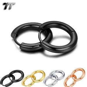 Quality-TT-Round-S-Steel-Hoop-Earrings-2mm-5mm-Width-12-30mm-4-Colors-EH134-NEW