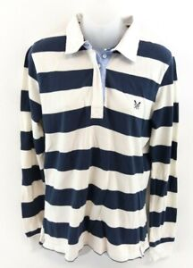 Details About Crew Clothing Womens Long Sleeve Polo Shirt 12 Blue White Stripes Cotton