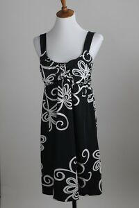 Women-039-s-INC-Stretch-Dress-Size-S-4-6-Empire-Waist-Black-White-Floral-Print