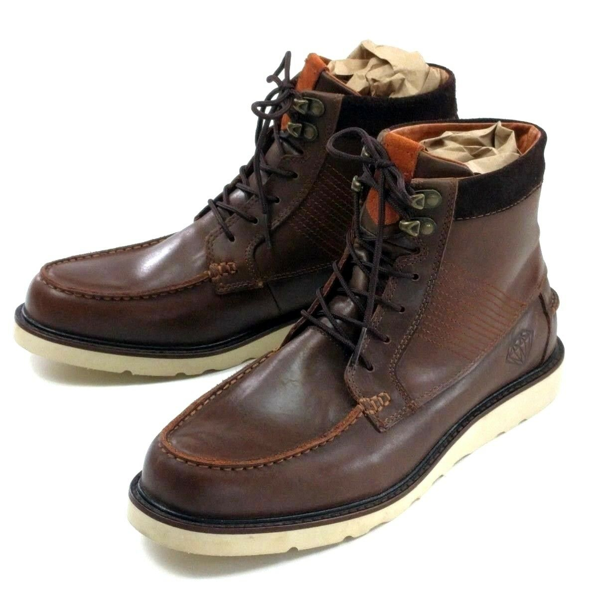 Diamond Supply Co Brown Leather GI Boots Mens Size 9.5 Vibram Soles C13-F106