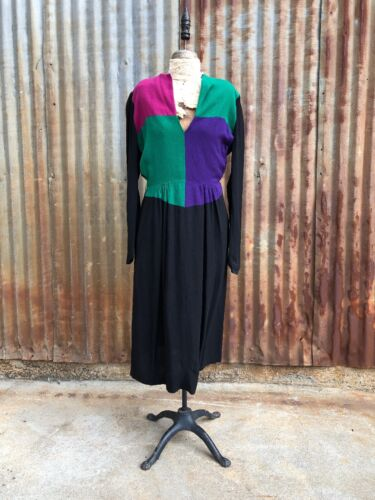 Vintage 1940s Color Block Midi Dress Wool Green Pu