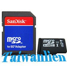 OEM 16GB 16G Class 10 Micro SD Micro SDHC TF Flash Memory Card + SanDisk Adapter