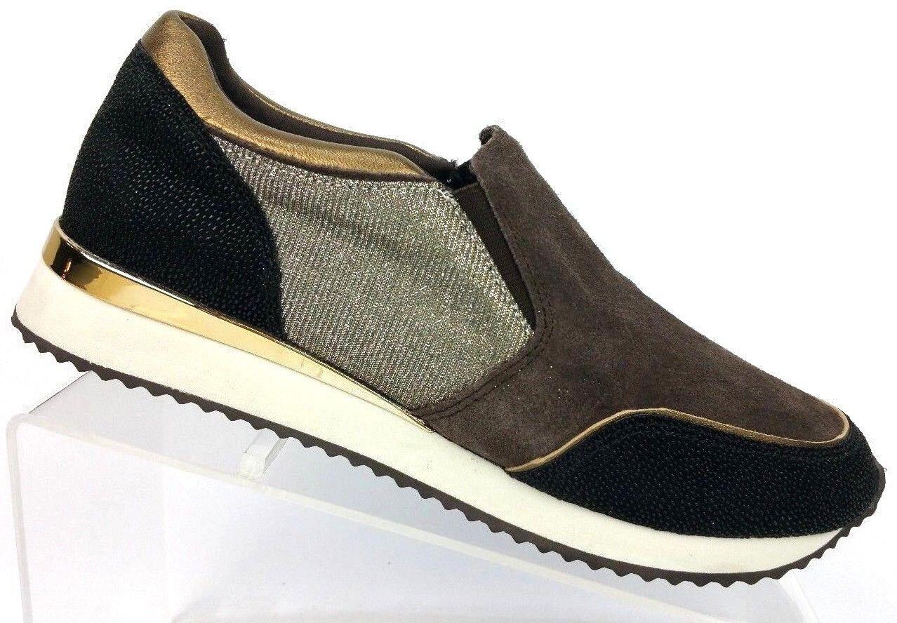 Karl Lagerfeld Giselle Brown Black Silver Suede Fashion Sneakers Women's 7.5 M