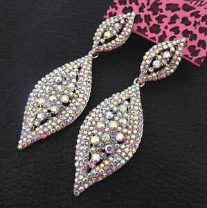 Betsey-Johnson-AB-Crystal-Rhinestone-Leaf-Dangle-Drop-Earrings