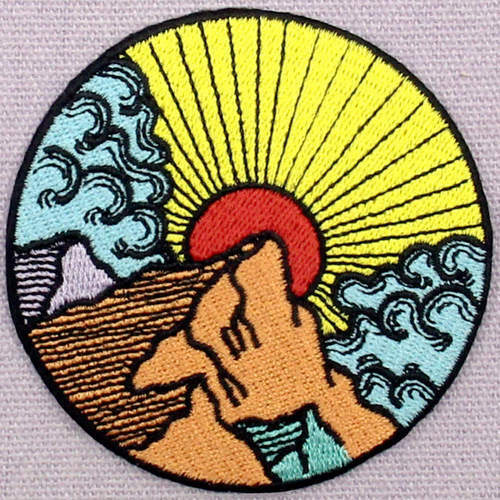 Embroidered Patches Iron Sew On transfers Badges appliques Sunrise  wave 697R