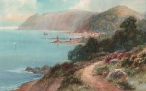 FREDERICK-PARR-Watercolour-Painting-LYNMOUTH-amp-THE-HEADLAND-DEVON-c1940