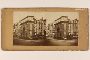 Porta San Martin c1865 Parigi Francia Foto Stereo Albumina Vintage