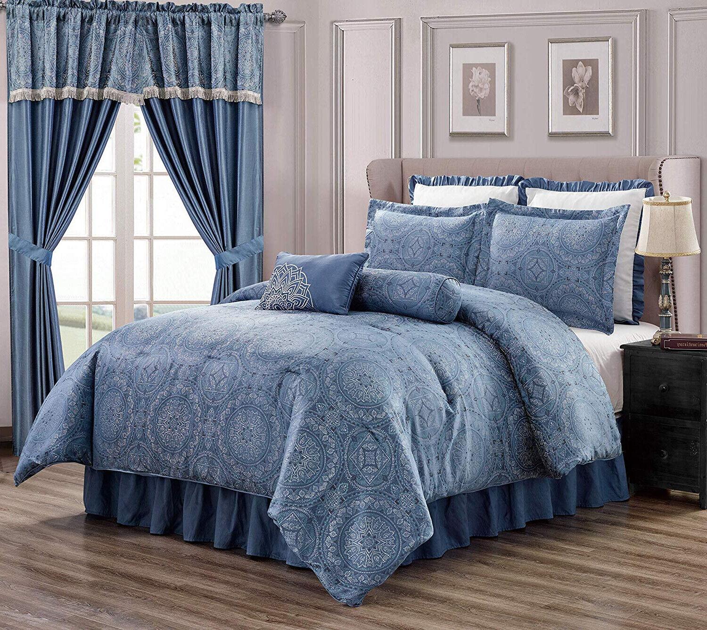 Luxurious Silber Blau Jacquard Floral 8 pcs Comforter Cal King Queen or Curtain