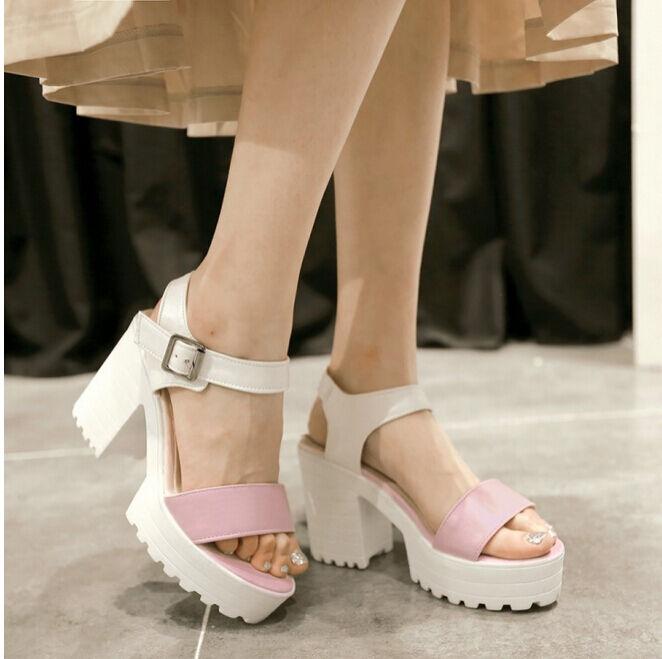 Chic Summer Womens Open Toe Chunky Block High Sandals heels Platform Sandals High Plus Size 7a3d85