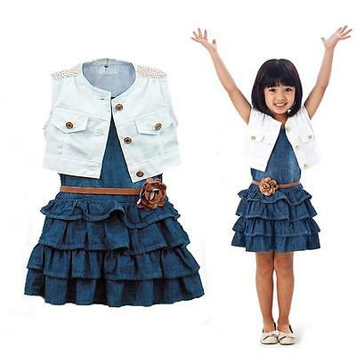 Baby Girl Kids Outfit Clothes Coat + Denim Dress 2pcs Set with Belt For 1-6Y