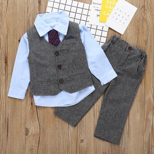 Boys Suits 3Pcs Waistcoat Suit Wedding Formal Dress Party Prom Clothes Outerwear