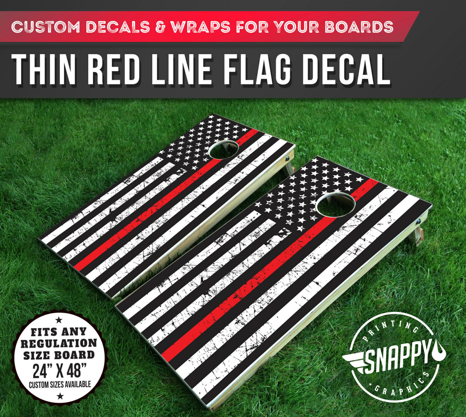 Thin Red  Line American Flag Distressed Look Cornhole Decal - Bags - Vinyl Decal  shop online