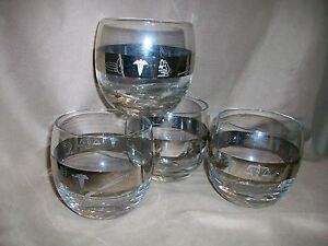 4-MID-CENTURY-MEDICAL-DOCTOR-PHYSICIAN-ROLY-POLY-LIQUOR-BARWARE-GLASSES