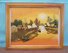 Beautiful Framed Embroidered Picture of an Asian Village by a River