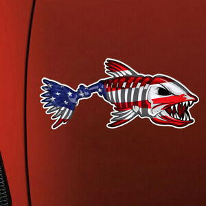 USA Bone Fish Sticker American Flag Fishing Cup Car Window Bumper Decals Graphic