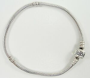 """Authentic sterling silver Barrel Clasp Snake Chain Bead Charm Bracelet 7/"""""""