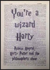 Details About You Re A Wizard Harry Potter Vintage Dictionary Print Picture Wall Art Quote