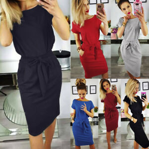 Hot Women Evening Party Dress Summer Ladies Short Sleeve Pocket ... a9bed6d89