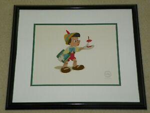 Disney Sericel Pinocchio Here's Your Apple Lt Ed 5000 Disney Black Frame & COA