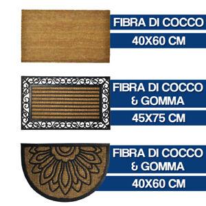 ZERBINO TAPPETO ASCIUGAPASSI CASA FIBRA DI COCCO SUPPORTO GOMMA O RIGHE (26836V)