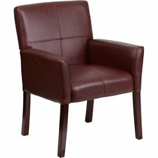Flash Furniture Leather Executive Side Guest Chair In Burgundy And Mahogany