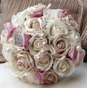 Image Is Loading Dusky Vintage Pink Ivory Brooch Roses Brides Bouquet
