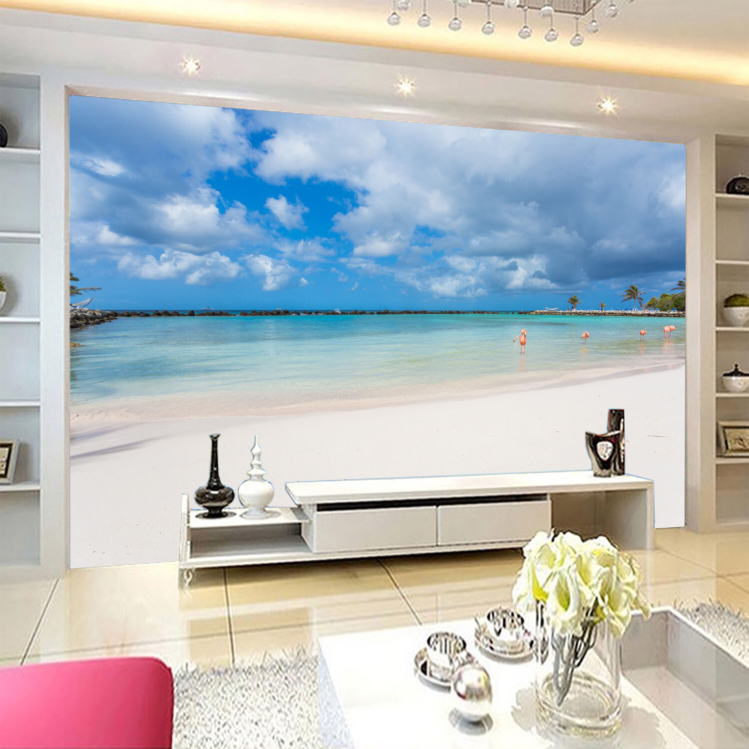 3D beach scenery cloud Wall Paper Print Decal Wall Deco Indoor wall Mural