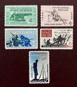 US Stamps, Scott #1178-82 Singles jeu de guerre civile Centennial Series très fine/XF M/jamais à charnière