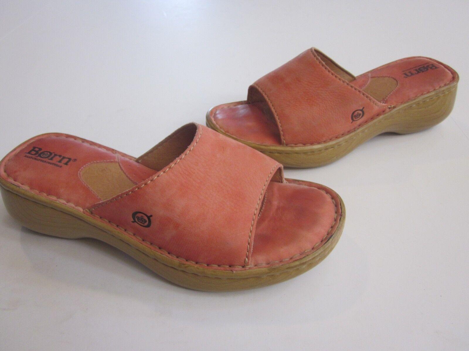 Born  Pink Sandal Leather  Slide Wedge Sandal Pink 6 M / 36.5  (A02) bbc1ef