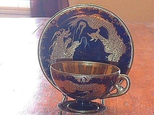 RARE Vintage Tashiro Shoten Co Japanese Cobalt /& Gold Cup /& Saucer