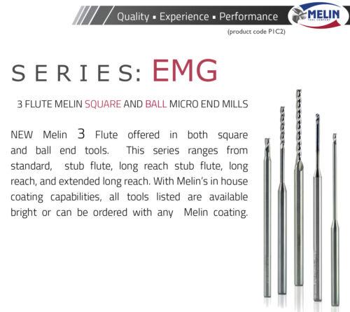 """.950/"""" Long Reach 3FL Carbide End Mill Melin USA H0897 3//32/"""" Ball End .139/"""" LOC"""