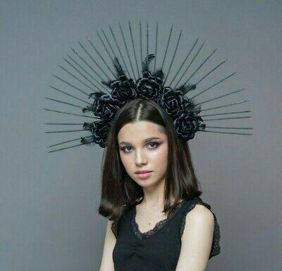 Virgin Mary Costume Goth Bridal Halo Headpiece 6 Black Spike Crown Bridal Crown Black Halo Crown Crown Headband Halloween Wedding