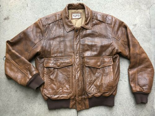 **1980s Vtg Mens Leather Bomber Military Flight Ja
