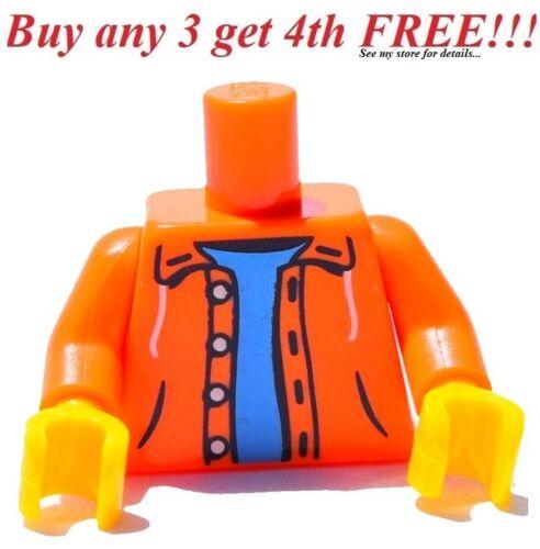 ☀️NEW Lego Torso City  Minifig ORANGE Sweater Sweatshirt Hoodie Minifigure
