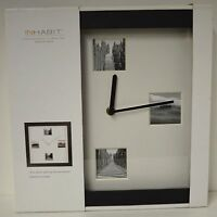 Nw Wall Clock Contemporary Inhabit Large 12.5 Face Square Photo Black Home Dorm