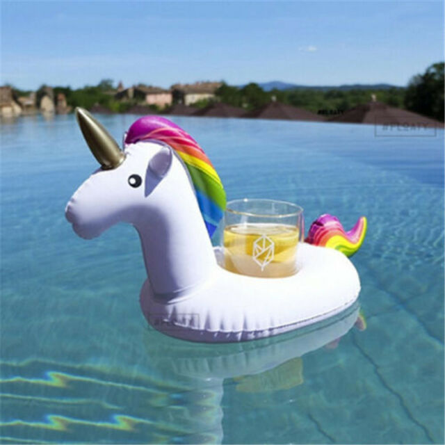 Inflatable Unicorn Float Water Bottle Cup Holder Drink Beverage Boat Pool Party