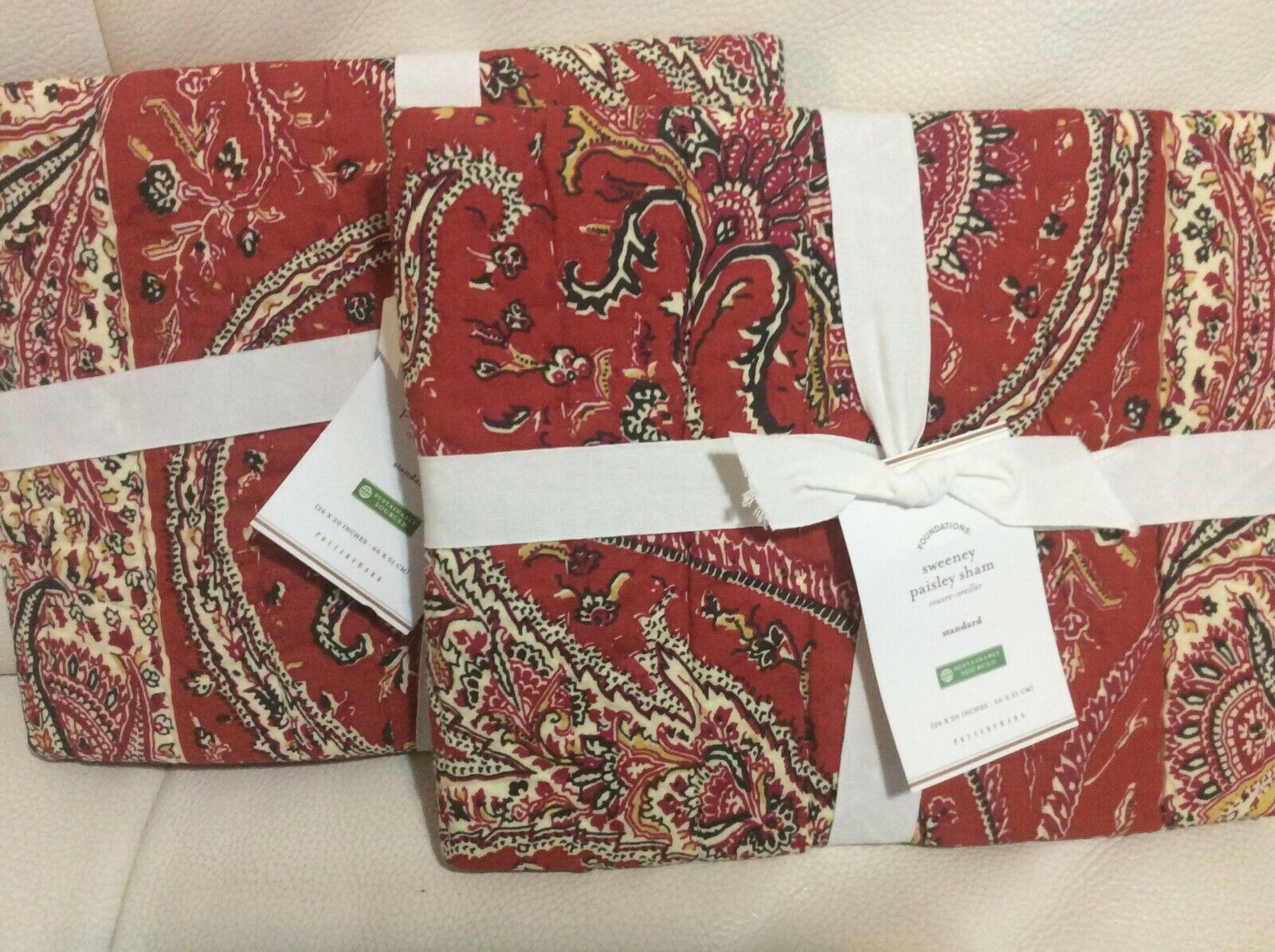Pottery Barn Two (2) Standard Sweeney Paisley Print Quilted Shams  NWT