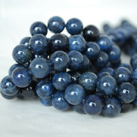 Grade AB Natural Dumortierite (blue) Gemstone Round Beads - 4mm 6mm 8mm 10mm