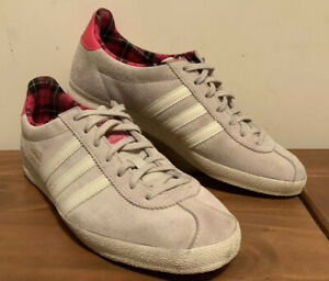 Oficiales vocal ampliar  Adidas Originals Gazelle Og Trainers Light Grey Suede Pink Tartan Size 6 Eu  39 | eBay