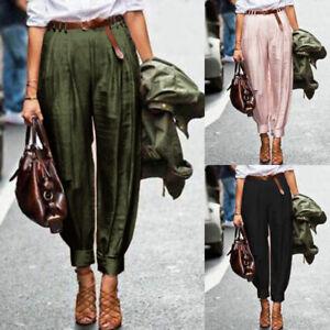 ZANZEA-Femme-Style-Harlan-Pantalon-Taille-elastique-Poches-Boutons-Long-Plus