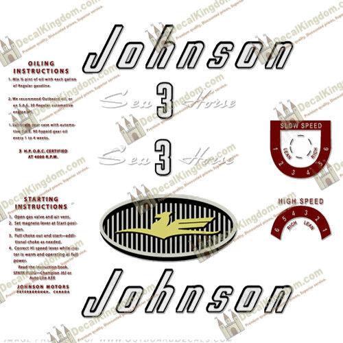 Johnson 1957 Vintage Outtavola Engine Decal Multiple Variations 3M Marine Grade
