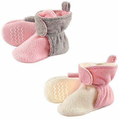 Hudson Baby Unisex Baby Cozy Fleece Booties, Lt Pink, Pink, Size 18-24 Months 3b