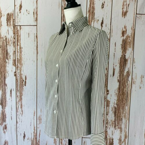 CAbi Button Up Size S Small Striped Green and Whit