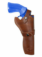 Barsony Brown Leather Western Style Gun Holster For Taurus 6 Revolvers