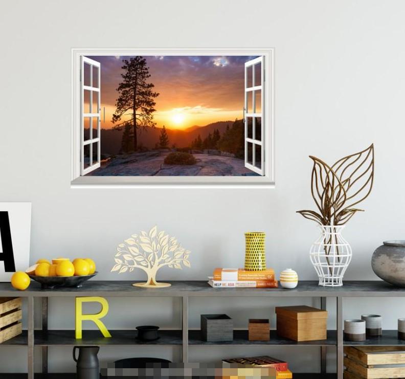 3D Sunset Tree 58 Open Windows Mural Wall Print Decal Deco AJ Wallpaper Ivy