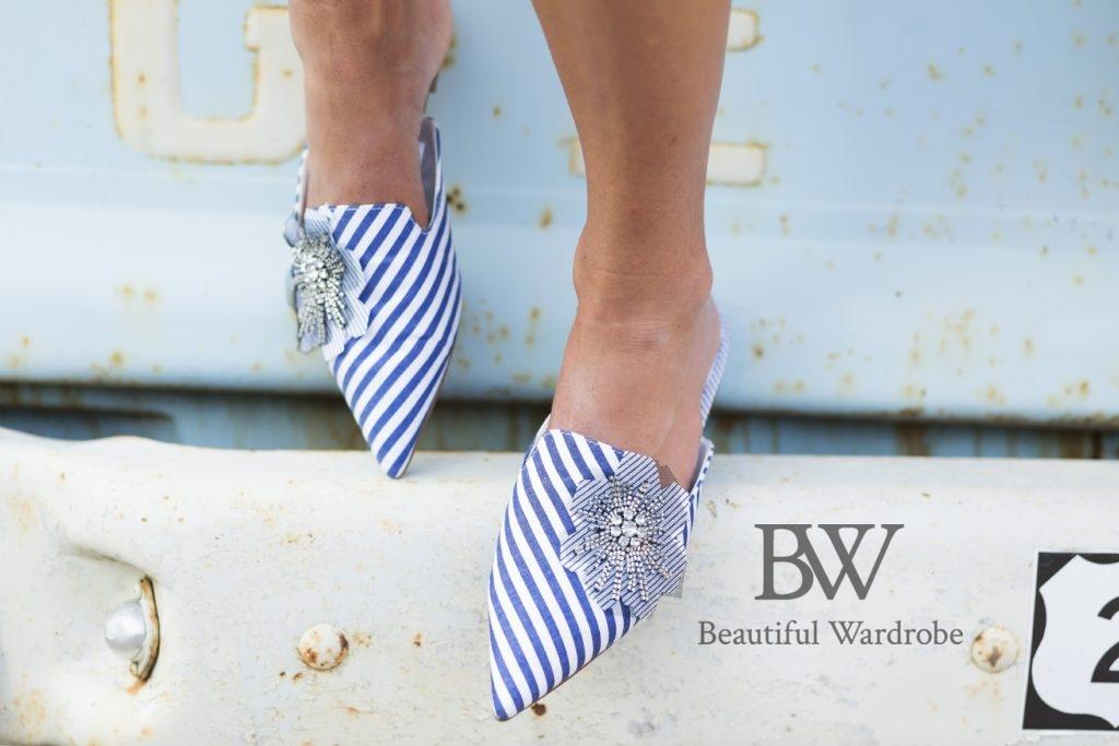 Zara Blue Striped Mules Size Uk6/39 BNWT