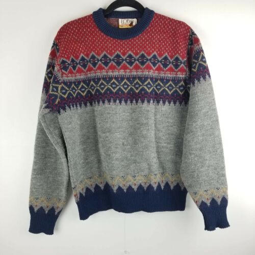 mens cotton sweater purple brown blue white. nordic pattern mens nordic sweater 80s 1980s mens sweater size large