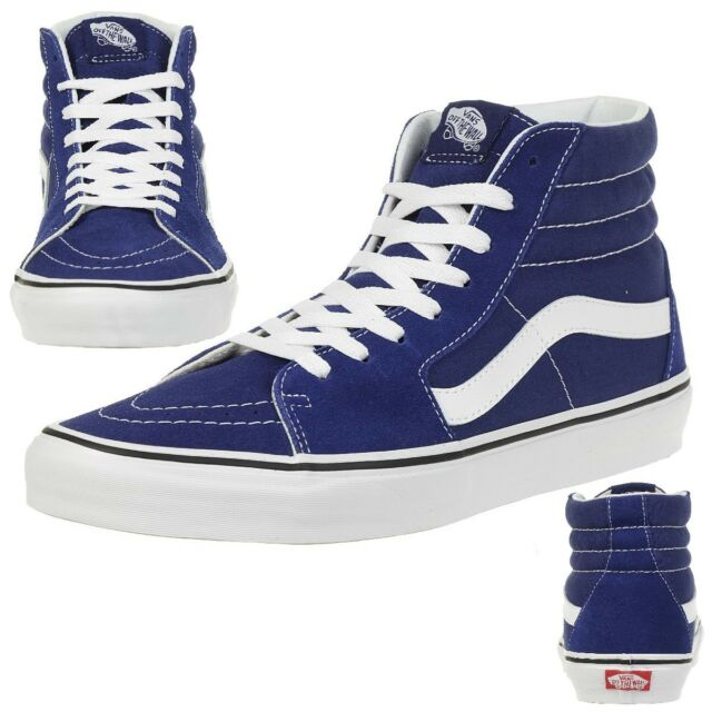 e3b0b2156f8137 Mens VANS Sk8 Hi Trainers Estate Blue True White Trainers Shoes UK 4 ...