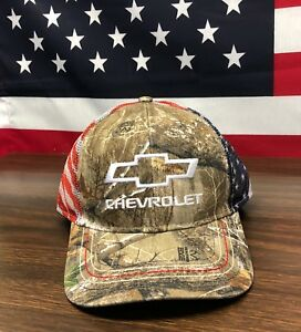 6931f6704a0 Chevy Realtree Xtra Cap USA Flag Hat New Chevrolet Camo Snap Mesh ...